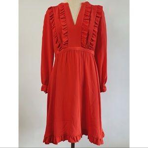 Kate Spade Adelle Dress Maraschino Red Ruffle Midi